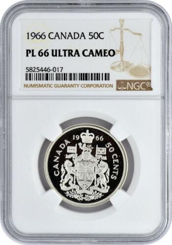 1966 50C Canada Silver Half Dollar NGC PL 66 Ultra Cameo