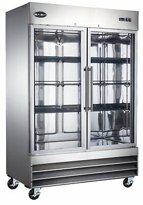 Saba Commercial Upright Freezer Freezer Storage Display Case 2 Glass Doors
