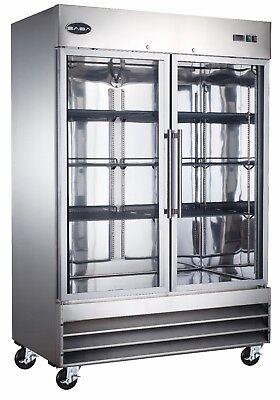 Saba Commercial Upright Freezer Freezer Storage Display Case 2 Glass Doors