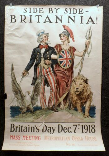ORIGINAL World War I poster BY James Montgomery FLAGG Side-By-Side, Britannia !
