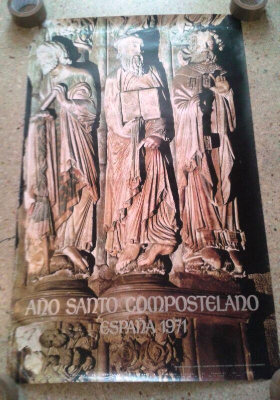 Vintage travel poster Spain Jacobean Holy Year Santiago de Compostela 1971