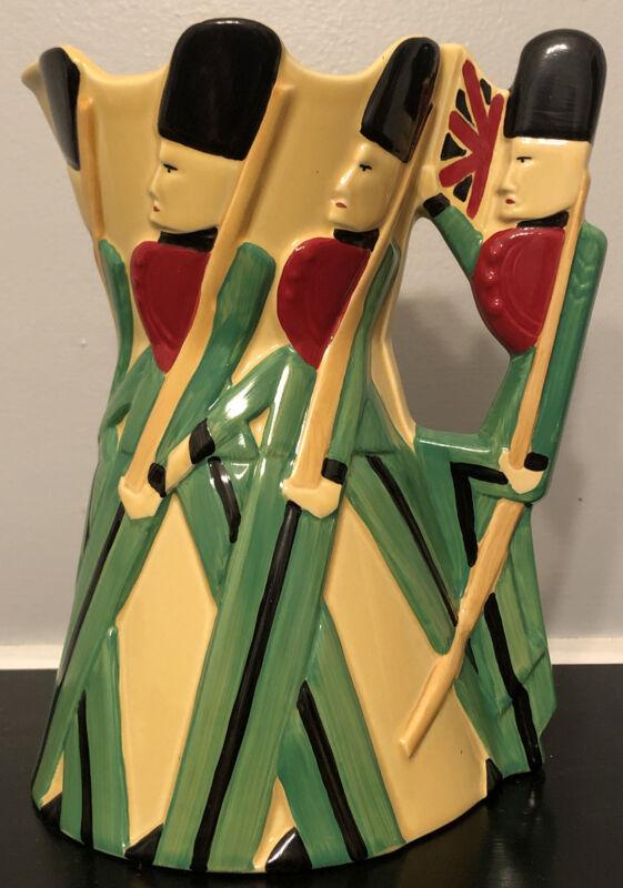RARE Burleigh Ware Pottery Jug Pitcher GUARDSMAN Buckingham Palace 2000 Art Deco