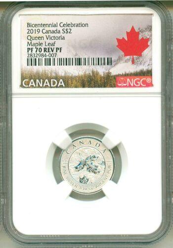 2019 Canada S$2 Bicentennial Queen Victoria Maple Leaf PF70 Reverse Proof
