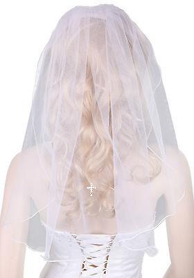 White Austrian Diamante Cross Veil for Girl's First Holy Communion Dress,23