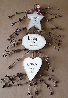 LIVE LAUGH LOVE rustic country plaque pip berry vintage Inspirational decor sign