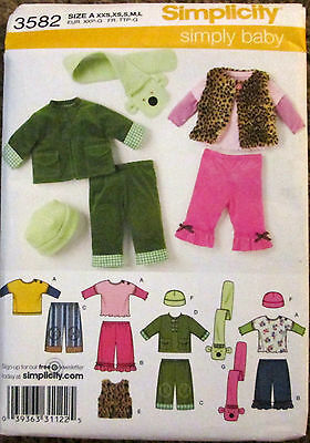 - SIMPLICITY Sewing Pattern #3582 BABY PANTS JACKET TOP HAT SCARF Size XXS-L UNCUT