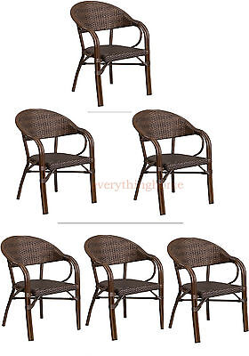 Aluminum Porch Frame - 2 TONE BROWN RATTAN RESTAURANT PATIO DINING CHAIR BAMBOO ALUMINUM FRAME IN/OUT!