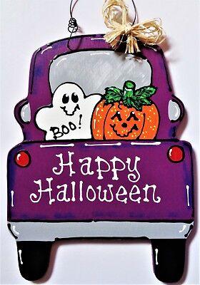 HAPPY HALLOWEEN Vintage Style TRUCK WALL ART Sign Ghost & Pumpkin Hanger (Happy Halloween Plaque)