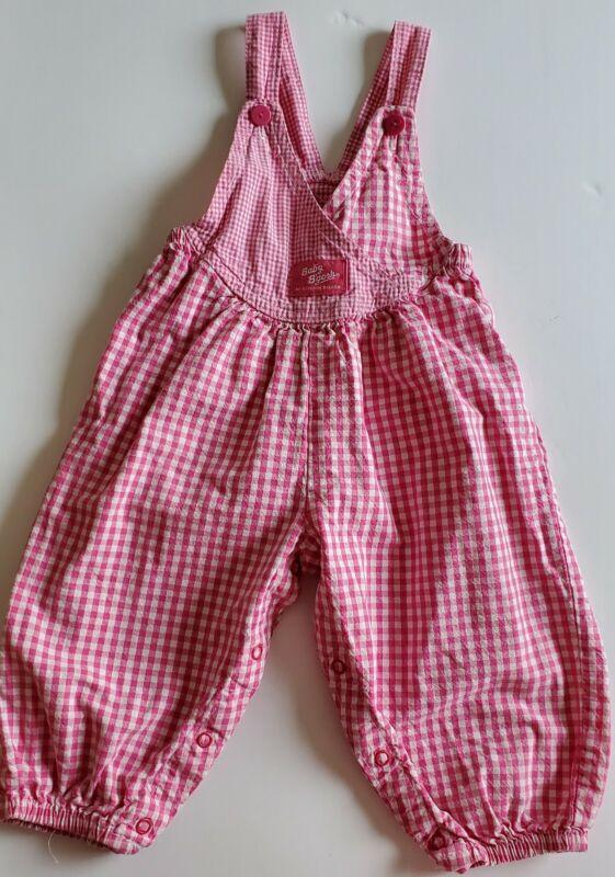 Vintage Oshkosh Girl's Vestbak Pink White Gingham Bubble Overalls 18 Month USA