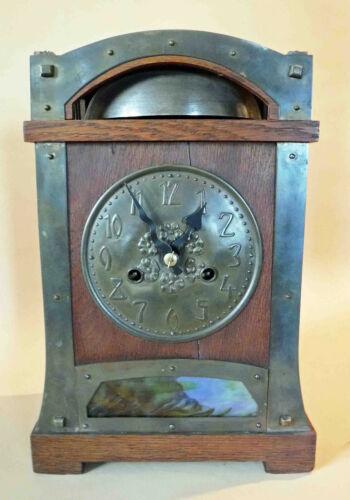 Antique Arts & Crafts Hamburg America Clock Co. Mission Oak Shelf Clock Working