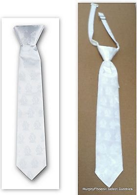 Boys White Satin First Holy Communion Clip-On Tie NIP FREE (First Holy Communion Ties)