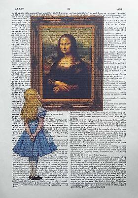 Alice in Wonderland vs Leonardo da Vinci - the Mona Lisa - dictionary art print