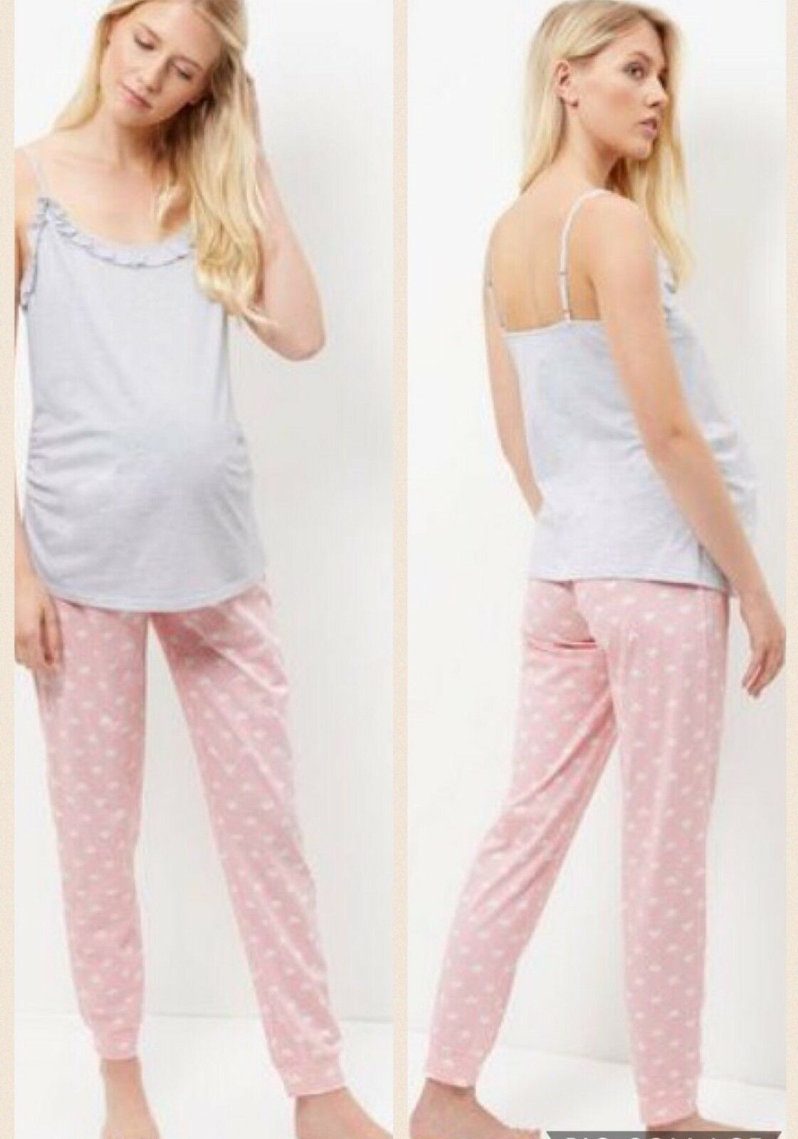 New Look Pink & Grey Hearts Long Maternity PJS Pajamas. Small,medium, Large.BNWT