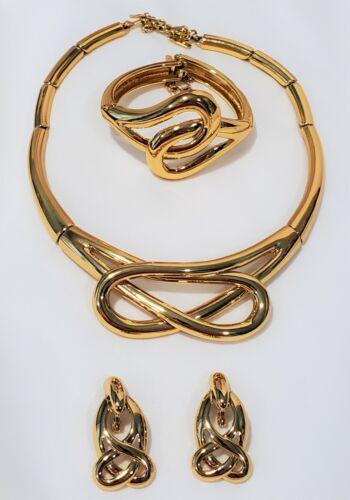 Monet Gold necklace earring bracelet set stylized knot signed
