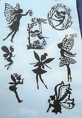 Die Cut fairies mix x 8, black, silhouette, fairy jar, topper,