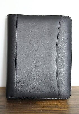 Franklin Planner Black Leather Business Organizer Binder Folder 7x1r Size 10x8