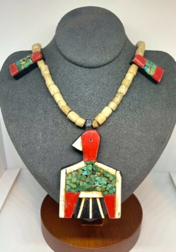 1930 Santo Domingo Turquoise Bone Heishi Bead Thunderbird Depression Necklace