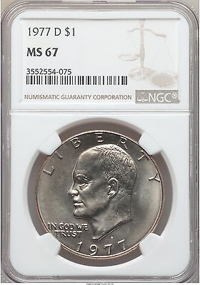 Click now to see the BUY IT NOW Price! 1977 D EISENHOWER IKE DOLLAR NGC MS67 POP 8/0 PRICE GUIDE   $6,500