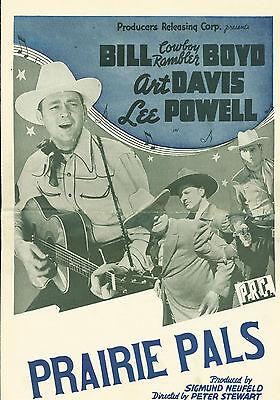 Prairie Pals (1942)  Art Davis, Bill 'Cowboy Rambler' Boyd,  western pressbook