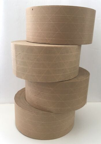 "4 Rolls 3"" x 450"" Reinforced Gummed Paper Tape (Water Activated)"