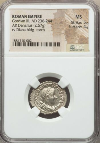 Roman Empire Gordian III 244-238 AD AR Denarius NGC MS 5/5 4/5 Ancient Coin