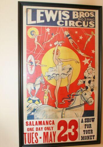 LEWIS BROS CIRCUS POSTER 1939 SALAMANCA NEW YORK ACROBATS ORIGINAL VINTAGE