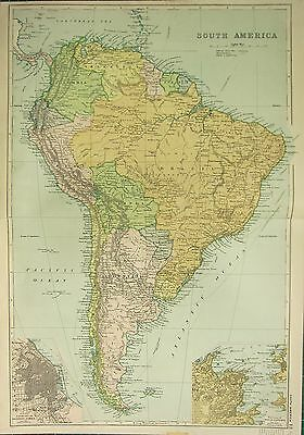 1912 LARGE ANTIQUE MAP ~ SOUTH AMERICA ~ ENVIRONS RIO DE JANEIRO BUENOS AIRES