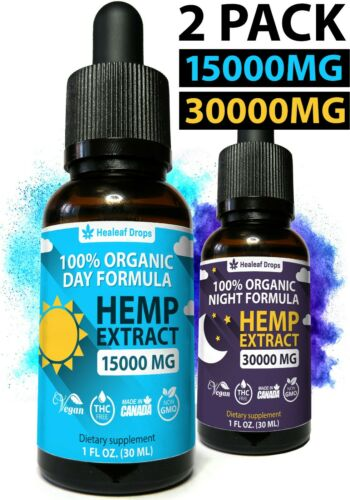 2 Pack Organic Hemp Oil 15000mg+30000mg for Pain Relief, Stress, Sleep & Anxiety