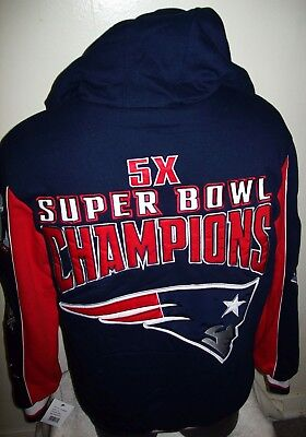 2017 New England Patriots 5 Time Super Bowl Championship Hooded Jacket 3X 4X 5X