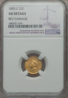 Click now to see the BUY IT NOW Price! 1855 C GOLD DOLLAR $1 INDIAN PRINCESS TYPE 2 NGC AU DETAILS    CHARLOTTE