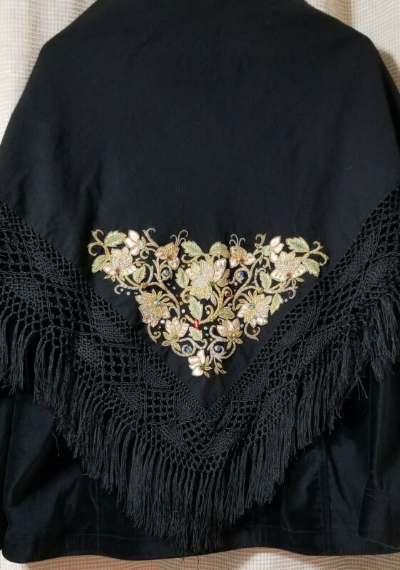 Vintage Embroidered/Jeweled Scarf/Shawl/Wrap In Black Perfect for The Holidays