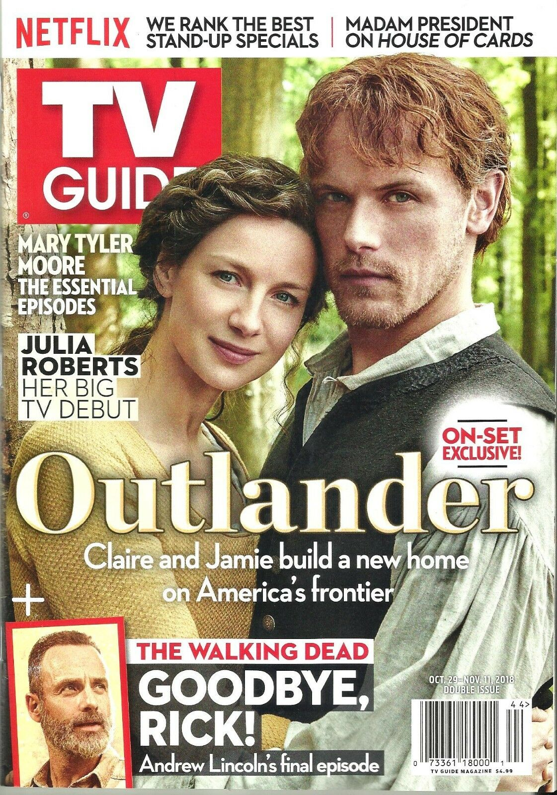 TV GUIDE-10/2018-OUTLANDER-SAM HEUGHAN-CAITRIONA BALFE-NO MAILING LABEL