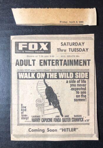 "1962 ""Walk On The Wild Side"" Barbara Stanwyck Laurence Harvey movie print ad"