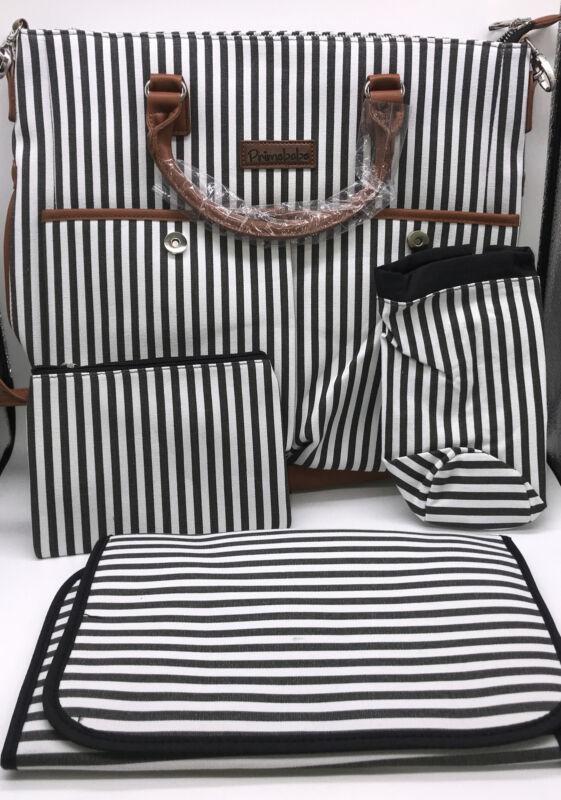 PrimeBabe Black & White Striped 5 In 1 Diaper Bag Brand New