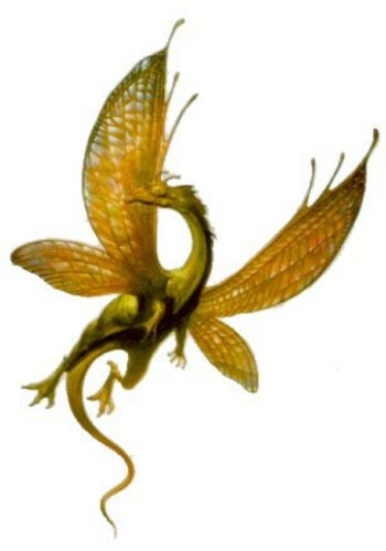 #Flying Dragon Fly  Irridescent Fantasy Green Gold Wings Vinyl Sticker Decal OOP