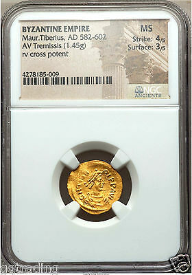 Ancients: Maurice Tiberius (AD 582-602). AV tremissis (1.45 gm).#582...