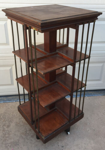 Danner Spinning Revolving Bookcase 1876 Walnut RARE Square Rotating Book Case