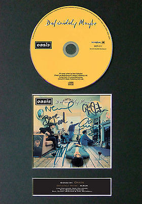 OASIS Definitely Maybe Signed Autograph CD & Cover Mounted Print A4 45