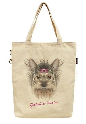 Tote Bag Made of Cotton Printed Yorkshire Terrier Dog with Pink Bow WAS_40 (Yorkshire Terrier Tote Bag)