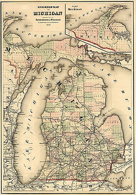 1874 Michigan Railroad Map Wall Art Poster Print Decor Vintage History