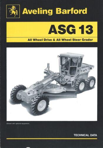 Equipment Brochure - Aveling Barford - ASG 13 - Motor Grader - c1980