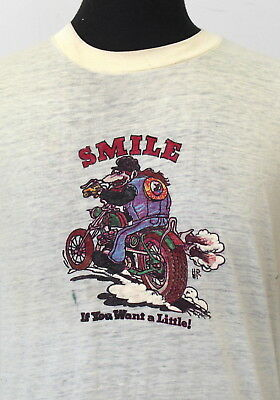 vtg 70s 80s SMILE if your want a little! SOFT THIN biker T SHIRT medium HARLEY