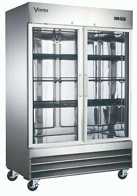 Vortex Commercial 2 Glass Door Reach-in Freezer In Stainless Steel - 47 Cu.ft.