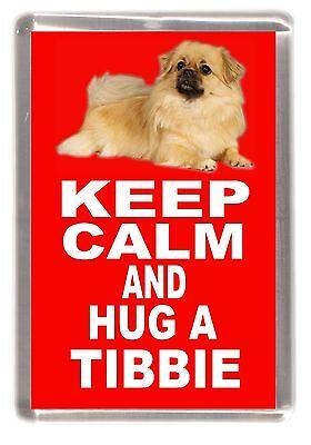 "Tibetan Spaniel Dog Fridge Magnet ""KEEP CALM AND HUG A TIBBIE"" by Starprint"