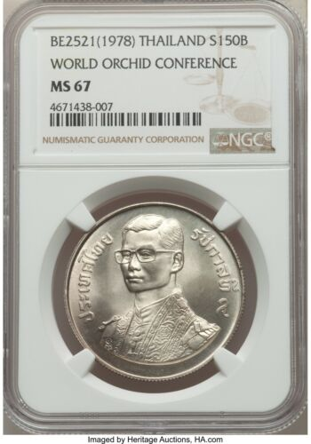 1978 Thailand World Orchid Conference 150 Silver BAHT NGC MS67 Free Shipping