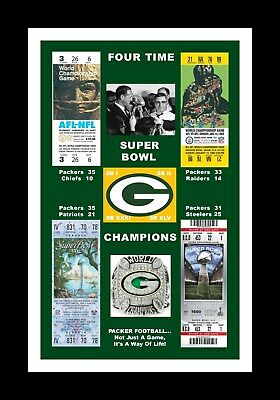 GREEN BAY PACKERS MATTED PHOTO OF ALL 4 SUPER BOWl TICKETS SB 1/2/31/45 #2