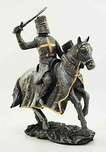 Medieval Templar Knight On Horse Statue Royal Elite Calvary Steed Crusader