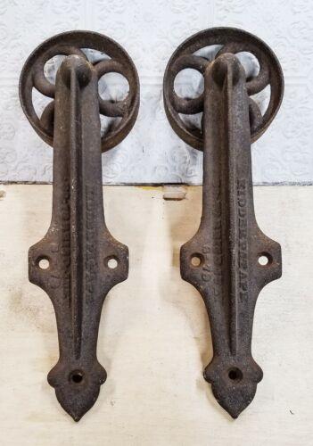 PRIMATIVE-ANTIQUE KIDDERPATAPE 1879 Cast Iron Barn Door Industrial Rollers