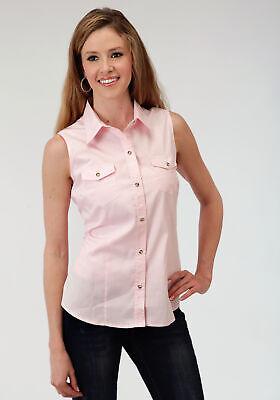 Roper Basics Ladies Pink 100% Cotton Solid Poplin Sleeveless -