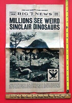 Vintage 1930s Sinclair Oil Gas Original Dino Dinosaur Worlds Fair Newspaper Sign